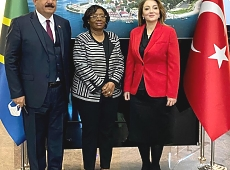 H.E Kiondo along with ULUSKON Chairwomen Ms. Atasoy and Board member Mr. Kıran at the Embassy.